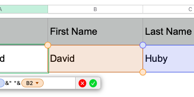 How to combine text from multiple cells in Apple numbers